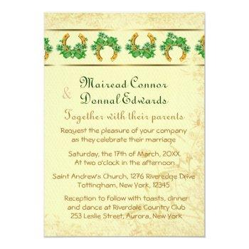 shamrocks and gold irish wedding invitation