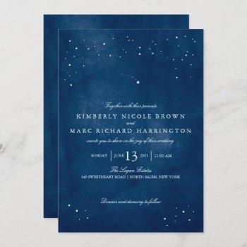 shooting star blue watercolor wedding invitation