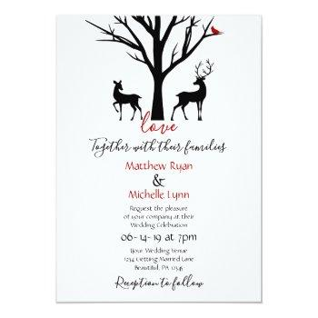 silhouette deer couple in love winter wedding invitation