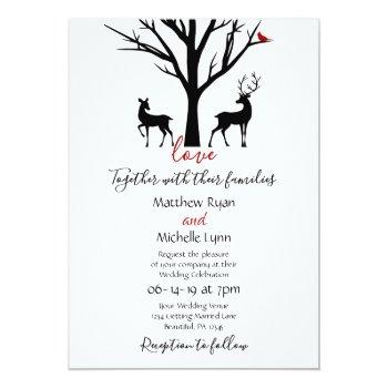 silhouette deer couple winter love wedding invitation