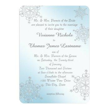 silver and ice blue snowflakes wedding invitation