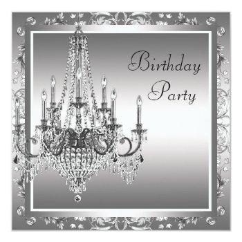 silver black damask chandelier birthday party invitation