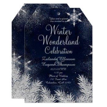 silver blue snowflake wedding winter wonderland invitation