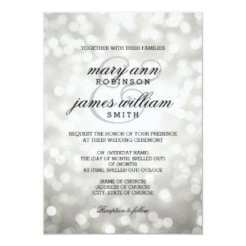 Small Silver Bokeh Lights Elegant Wedding Invitation Front View