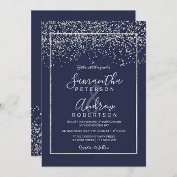 silver confetti navy blue typography wedding invitation