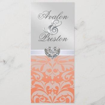 silver coral diamond damask wedding invitation