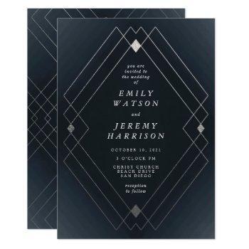 silver diamond navy geometric deco gatsby wedding invitation