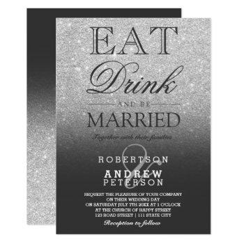 silver faux glitter grey script wedding invitation