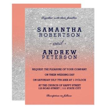 silver faux glitter navy blue coral ombre wedding invitation