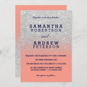 silver faux glitter navy blue coral ombre wedding invitation