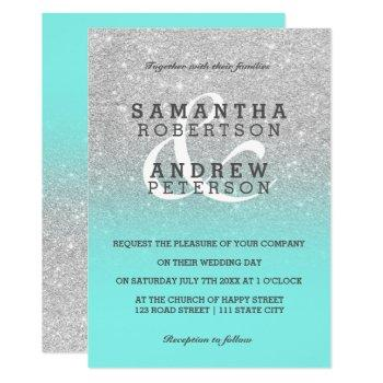 silver faux glitter teal ombre wedding custom invitation