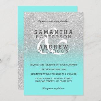 silver faux glitter teal ombre wedding custom invitation