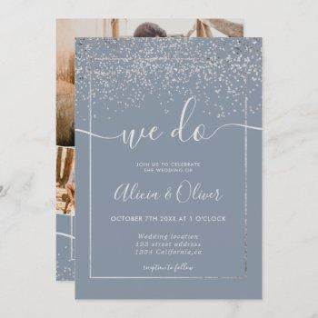 silver foil dusty blue photo initials wedding invitation