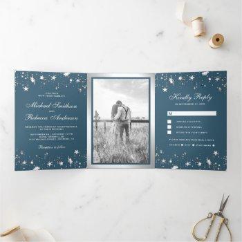 silver foil stars confetti dusty blue wedding tri-fold invitation