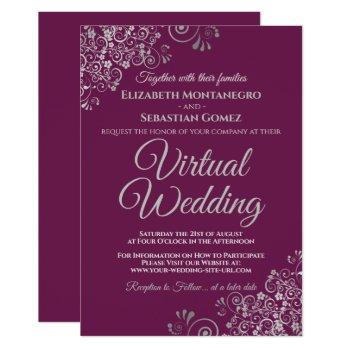 silver frills cassis purple chic virtual wedding invitation