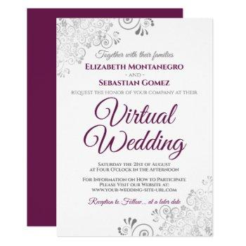 silver frills cassis purple white virtual wedding invitation