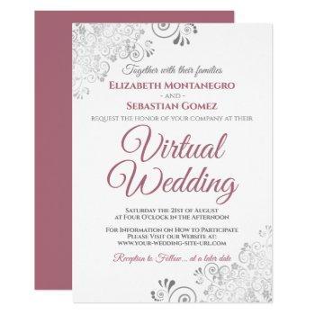silver frills dusty rose & white virtual wedding invitation