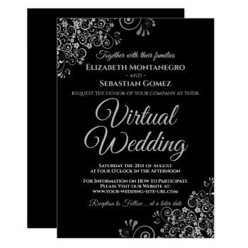 silver frills elegant black virtual wedding invitation