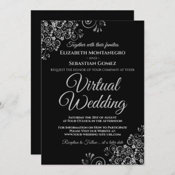 silver frills elegant black virtual wedding invitation