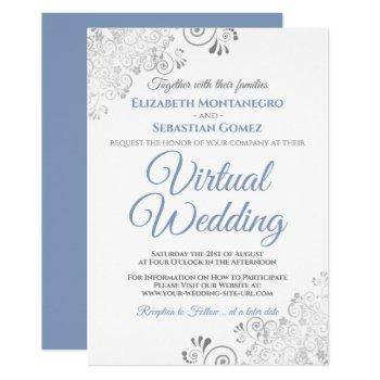 silver frills elegant blue & white virtual wedding invitation