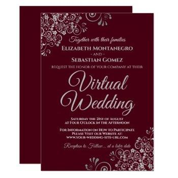 silver frills elegant burgundy virtual wedding invitation