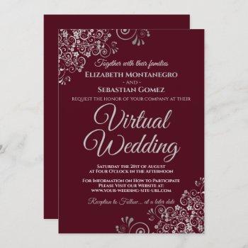 silver frills elegant burgundy virtual wedding invitation