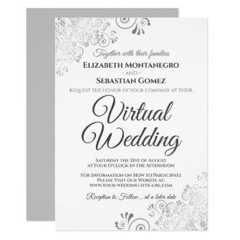 silver frills elegant gray & white virtual wedding invitation