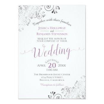 Small Silver Frills Elegant Lavender On White Wedding Invitation Front View