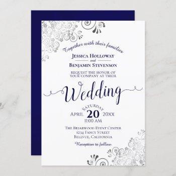 silver frills elegant navy blue & white wedding invitation