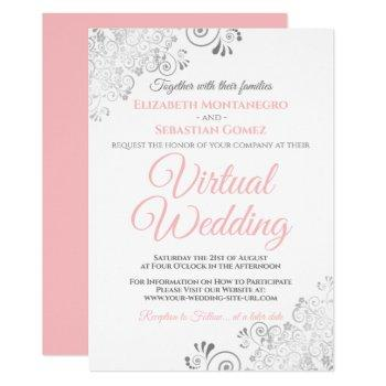silver frills elegant pink & white virtual wedding invitation