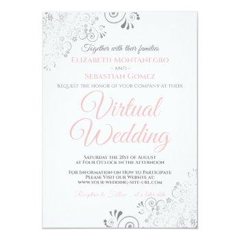 Small Silver Frills Elegant Pink & White Virtual Wedding Invitation Front View