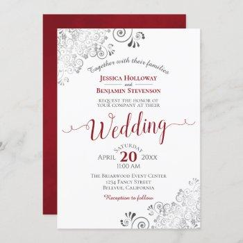 silver frills elegant red & gray on white wedding invitation