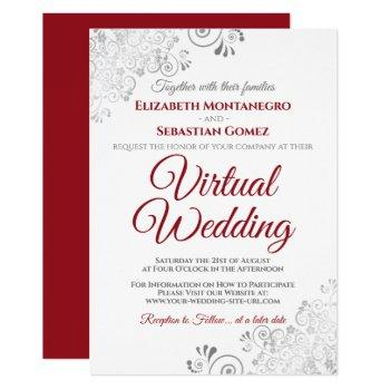 silver frills elegant red & white virtual wedding invitation