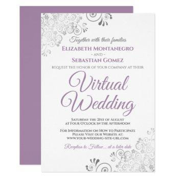 silver frills lavender & white virtual wedding invitation