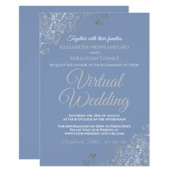 silver frills light blue and gray virtual wedding invitation