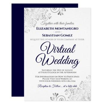 silver frills navy blue & white virtual wedding invitation