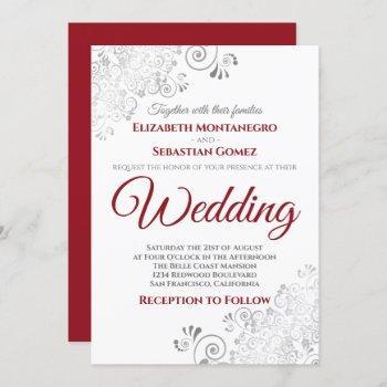silver frills red & gray on white wedding invitation