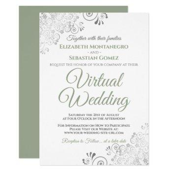 silver frills sage green & white virtual wedding invitation