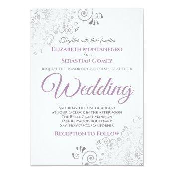 Small Silver Frills Simple Purple Gray & White Wedding Invitation Front View