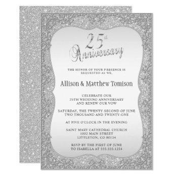 silver glitter 25th wedding anniversary | diy text invitation