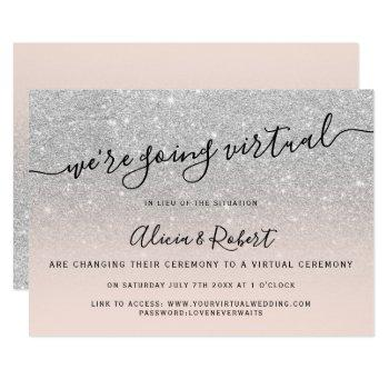silver glitter blush script virtual wedding invitation