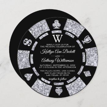 silver glitter monogram poker chip casino wedding invitation