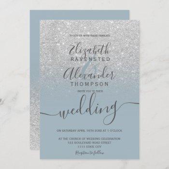 silver glitter ombre dusty blue script wedding invitation