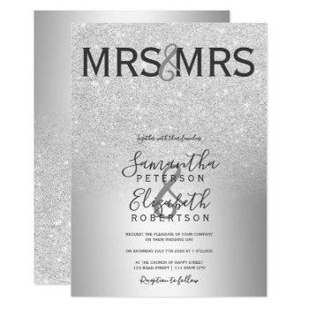 silver glitter ombre metallic lesbian wedding invitation