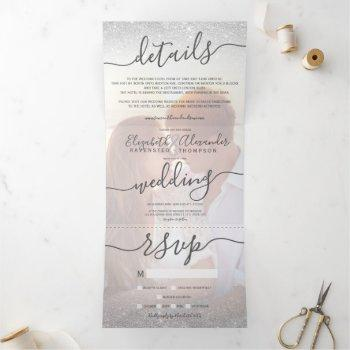 silver glitter ombre white script photo wedding tri-fold invitation