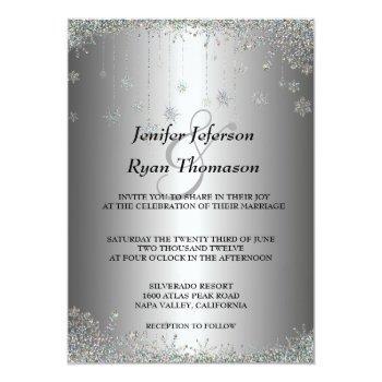 silver glitter snowflakes wedding invitation