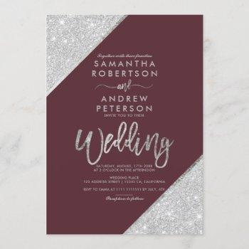 silver glitter typography burgundy wedding invitation