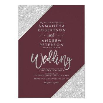 silver glitter typography burgundy wedding invitation