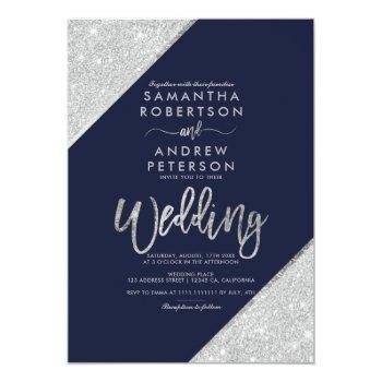 Small Silver Glitter Typography Navy Blue Wedding Invitation Front View