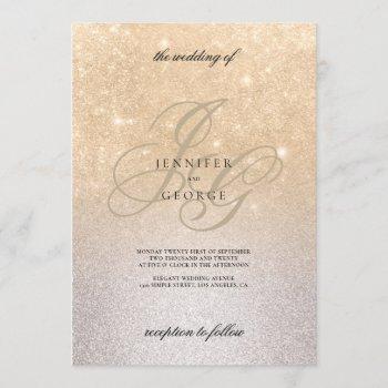 silver gold monogram initals ombre glitter wedding invitation